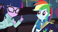 Twilight wagging her finger at Rainbow Dash EGDS6