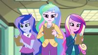 Celestia, Luna, and Cadance grade Fluttershy EG3