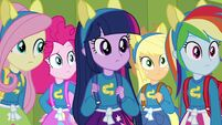 Twilight and friends wearing pony ears