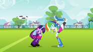 Rainbow Dash back-kicks the ball EG