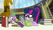Twilight and Spike reading in the library EGFF