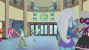 Rainbow Dash bounces a soccer ball through the hall EG2