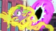 Spike gets caught in Fluttershy's magic stream EG3