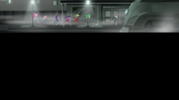 Mane Seven runs through a film noir movie set EGS2