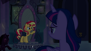 Sunset Shimmer standing in front of the mirror EG