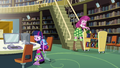 Twilight, Spike, and Cheerilee in the library EG.png