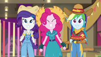 Rarity, Pinkie, and Rainbow dancing to AJ's song EGDS25