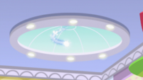 Equestrian magic flying into the Canterlot Mall EGS3