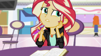 Sunset Shimmer thinking of what to write EGS3