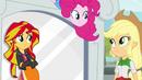 Pinkie Pie over Applejack and Sunset EG2
