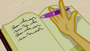 Sunset Shimmer taps her pen on the page EGFF