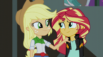 Applejack and Sunset smiling EG3