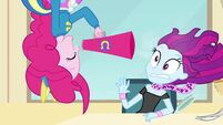 Pinkie Pie shouts through the megaphone