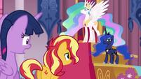 Sunset Shimmer addressing Princess Celestia EGFF