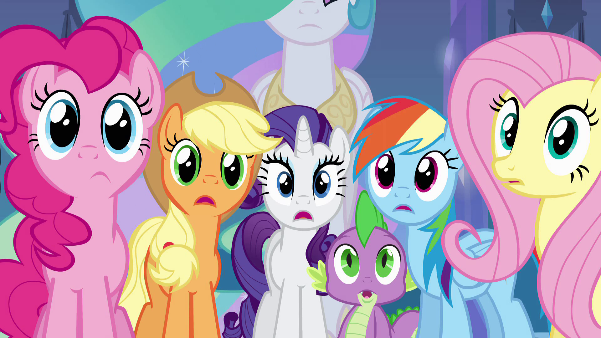 Image  Girls and Spike listening EGpng  My Little Pony