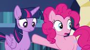 Pinkie Pie pointing at Twilight EG2