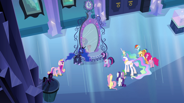 File:Ponies shocked by Luna's explanation EG.png