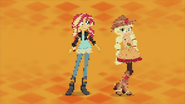 Applejack and Sunset pixelating EG2