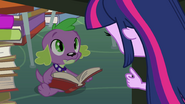 Spike reading a book under a table EG