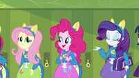 Fluttershy, Pinkie, and Rarity with pony ears