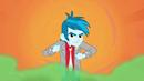Unnamed boy agitated on orange background EG2