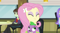 Fluttershy hugging puppy Spike in the cafeteria EG2