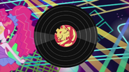 Sunset Shimmer on rolling vinyl record EG2