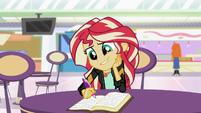 Sunset Shimmer writing to Princess Twilight EGS3