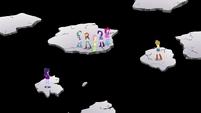 Twilight, Applejack, and friends on separate platforms EGS3