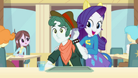 Rarity startling a student on the phone EG