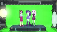 Rarity, Fleur, and Velvet in front of green screen EG3b
