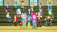Fluttershy, Pinkie, and students cheer softly SS4