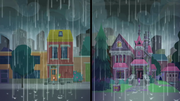 Rain pours over Sunset and Twilight's houses SS6