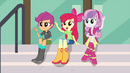 The CMCs waving to Rainbow Dash EG3