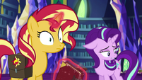 Sunset Shimmer hears Starlight being sad EGS3