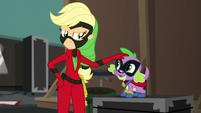 Applejack petting Spike on the head EGS2