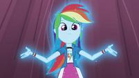 Rainbow Dash starting to glow on stage EG3