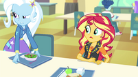Trixie appears next to Sunset at lunch EGFF