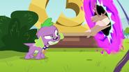 Spike growling at jackalope EG3