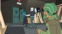 Juniper being escorted out by security guard EGS2