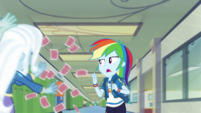 Rainbow Dash dodging Trixie's flying cards EGDS42