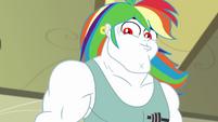 Bulk Biceps with a flowing rainbow wig EGDS12b