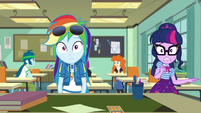 Rainbow and Twilight listen to Miss Cheerilee EGDS22