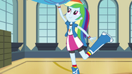 Rainbow Dash pulling down rainbow drapery EG2