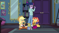 Twilight looks disapprovingly at Applejack and Sunset EGDS6
