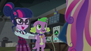 Twilight holding Spike out to Dean Cadance EG3