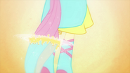 Fluttershy's hair grows into a ponytail EG