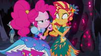 Pinkie Pie giving Sunset Shimmer a marshmallow EG4b