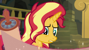 Sunset Shimmer looking at the drawings EGFF