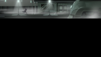 Cloaked figure runs through a film noir movie set EGS2